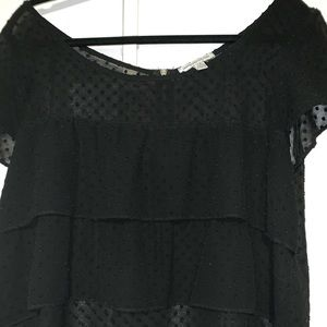 Black polka dot ruffle shorter t-shirt size large